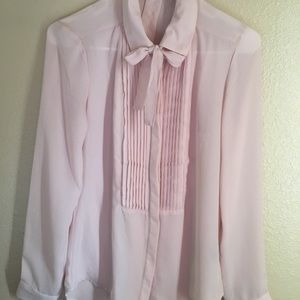 Tops - Blush button up with bow tie